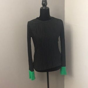 Black with Green Cuffs Long Sleeve Shirt
